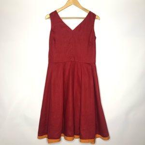 Sundance Red Linen Dress Size:8